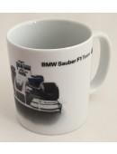 BMW Sauber F1 Team Kaffee Tasse Kaffeetasse mit BMW Applikation NEU